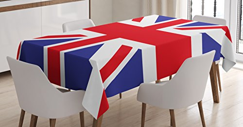 Union Jack Tablecloth by Ambesonne, Classic Traditional Flag United Kingdom Modern British Loyalty Symbol, Dining Room Kitchen Rectangular Table Cover, 52 W X 70 L Inches, Royal Blue Red White
