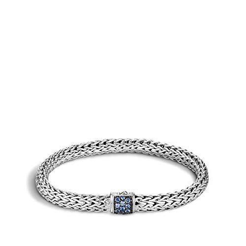 John Hardy Women's Classic Chain 6.5mm Silver Lava Small Bracelet with Blue Sapphire Large