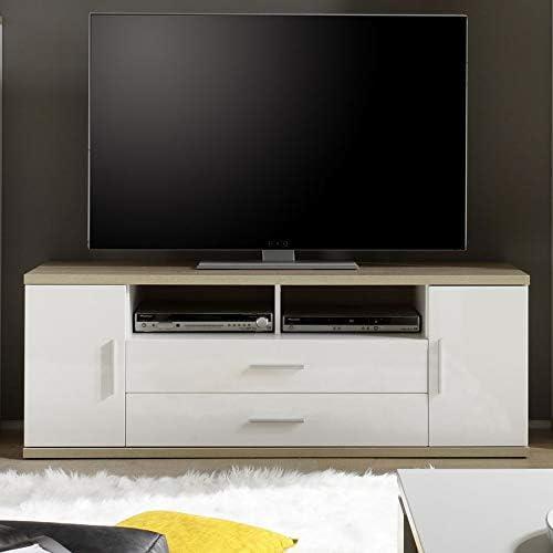 NOUVOMEUBLE Mueble de televisión Moderno Blanco y Color Roble Claro Daphne