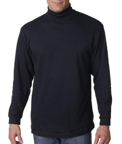 UltraClub 8516 Mens Egyptian Interlock Long-Sleeve Mock Turtleneck L Black - Golf Long Sleeve Mock Turtleneck