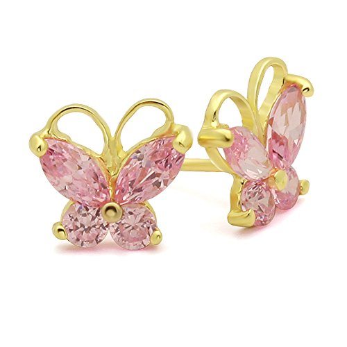 14K Yellow Gold Marquise CZ Butterfly Screwback Stud Earrings - (Yellow Gold Butterfly Earrings)