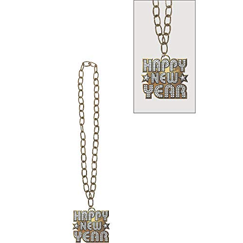 Amscan Happy New Year Silver Plastic Bling Necklace   Party Accessory