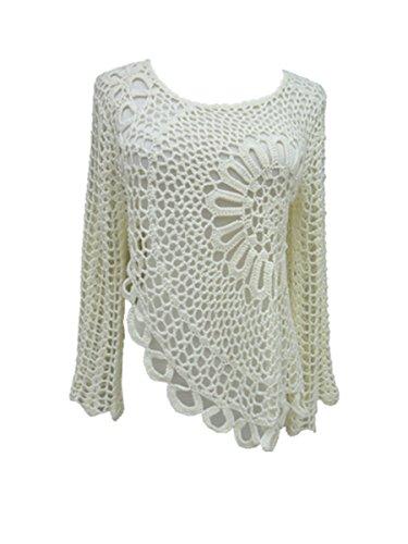 Tinacrochetstudio Hi Low Women White Crochet Blouse Long Sleeve (S-M, Ivory)