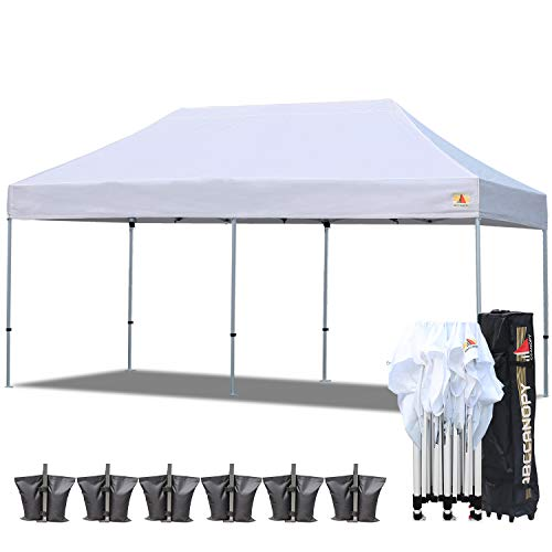 ABCCANOPY PRO-40 Ez Pop up Canopy Tent Commercial Instant Gazebos with Roller Bag and Weight Bag (10x20ft, White-Aluminum)