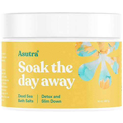 Asutra, Detox & Slim Down, 100% Pure Dead Sea Bath Salts, Cleanse, Purify & Fight Cellulite, Rich In Vital Healing Minerals, Organic Eucalyptus, Tea Tree and Lemon Essential Oils, 16oz