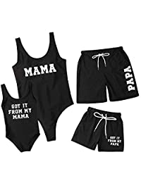 WIFORNT Family Matching Swimwear Letter Printed Mommy and Me One Piece Swimsuit