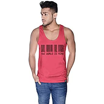 Creo Pink Cotton Round Neck Tank Top For Men