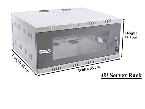 Plantex High Grade 4U CCTV/DVR/NVR Cabinet Box/DVR Rack Wall Mount with  Lock/Network Rack/Server Rack with Power Socket - Cooling Fan - Adjustable