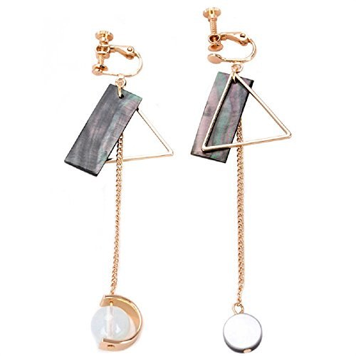 Ear Clip - Korean Style Creative Geometry Design with Long Pendant Ear Clips / Earrings for Women's Accessories (Ear Clip)