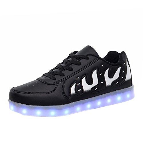 Matari Älskare Man Kvinna Usb-laddning Ledde Skor Tillfällig Walking Mode Sneakers Svart