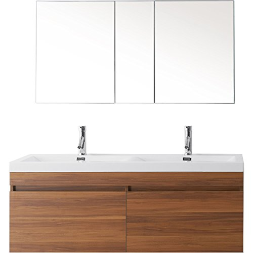 Virtu Usa Jd 50355 Pl 001 Zuri 55  Double Bathroom Vanity With White Polymarble Top And Square Sink With Brushed Nickel Faucet  Plum