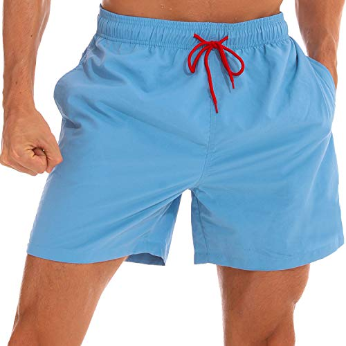 (LANYI Men's Swim Trunks Quick Dry Beach Swim Shorts with Mesh Liner Bathing Suits (Light Blue, US XS))
