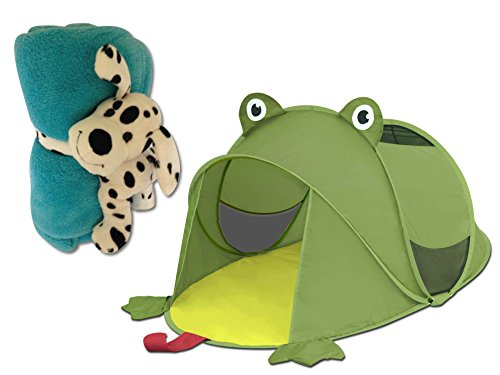 Kids Frog Pop-Up Tent with Hugz Puppy Plush Blanket Set Made of 100% Polyester