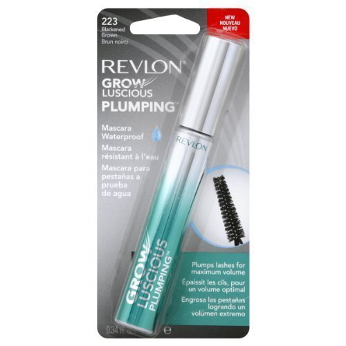 Revlon Grow Luscious Plumping Mascara Waterproof, Blackened Brown WP, 0.34 Fluid Ounce