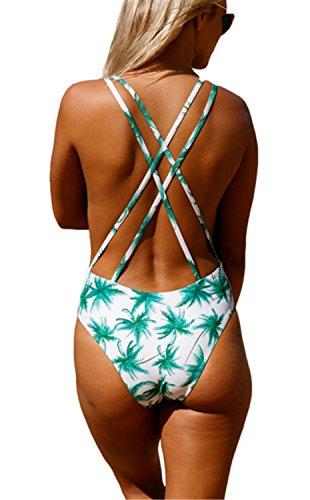SHUNLIU Traje de Baño Mujer Bikini Triángulo Atractiva de Hoja Verde Print Bikini Traje de Baño Partido Mujer Bañadores Ropa de Baño