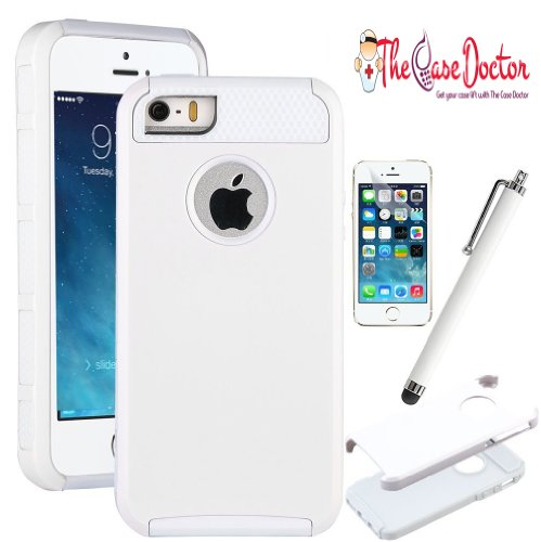 TCD for Apple iPhone 5C [WHITE] Hybrid Rugged Protective Defender Series Combo Case Cover Multiple Layers Shock Ultimate Protection [FREE SCREEN PROTECTOR STYLUS PEN]
