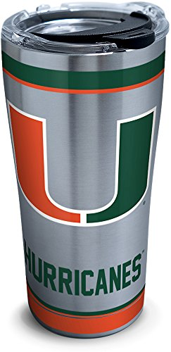 Tervis 1297987 NCAA Miami Hurricanes Tradition Stainless Steel Tumbler with Lid, 20 oz, (Miami Hurricanes Travel Tumbler)