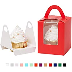 Yotruth Pop-up Cardboard Single Cupcake Boxes True Red 25 Sets with Window Insert and Handle