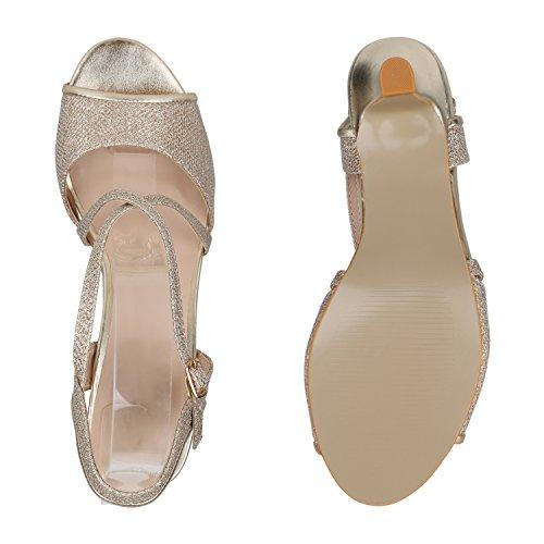 Stiefelparadies Damen Sandaletten Lack Stiletto High Heels Sandalen Glitzer Strass Party Schuhe Riemchensandaletten Metallic T-Strap Flandell Gold Glitzer Carlet