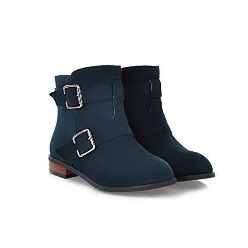 Heels Womens Round Solid Darkblue PU Boots Plush Wedge Toe US 5 Closed and AmoonyFashion B M Low Buckle 4 with Short xXACwgAqd