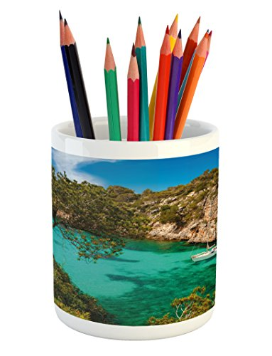 Ambesonne Nature Pencil Pen Holder, Small Yacht Floating in Sea Majorca Spain Rocky Hills Forest Trees Scenic View, Printed Ceramic Pencil Pen Holder for Desk Office Accessory, Green Aqua Blue by Ambesonne