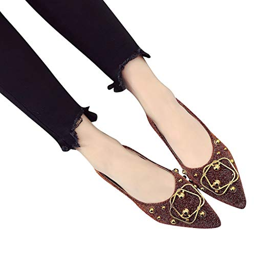 Casual Pantoufles Chaussures Flats Mocassins Eté Chaussons Femmes Fu Printemps Pointues Manadlian Marron De Plates Souple Shoes Lok Simple Boucle wnT8ETvq
