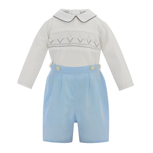 Bobby Suit (Carriage Boutique Baby Boy Long Sleeve Bobbie Suit Smocked- White Pastel Blue, 6 Month)