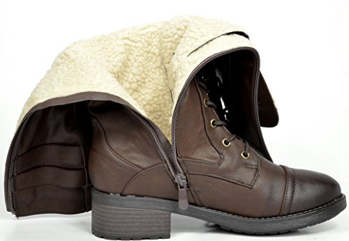 Boot Faux Lining Women's Georgia PAIRS DREAM Fur brown Combat Winter wCqU7p0U