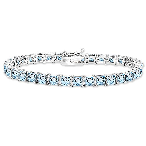 Bracelets Square Nickel (Sterling Silver Blue Topaz 4mm Princess-Cut Square Classic Tennis Bracelet)