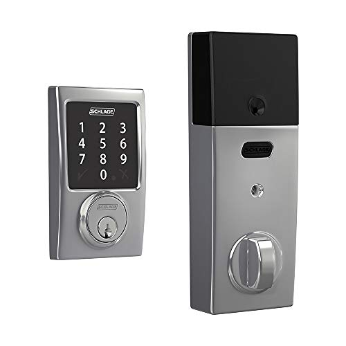 Schlage Connect Smart Deadbolt with Century trim in Bright Chrome, Zigbee Certified
