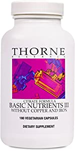 Thorne Research Basic Nutrients III without Copper & Iron, 180 Vegetarian Capsules (FFP)