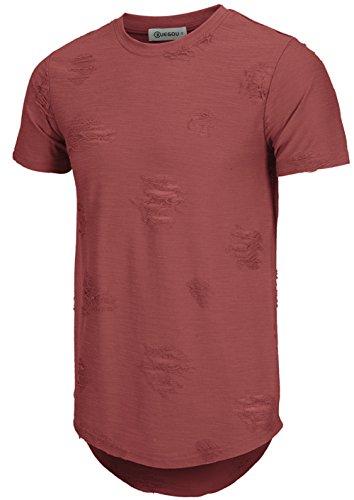 - KLIEGOU Mens Hipster Hip Hop Ripped Round Hemline Hole T Shirt(1705) (Medium, Dark Red)