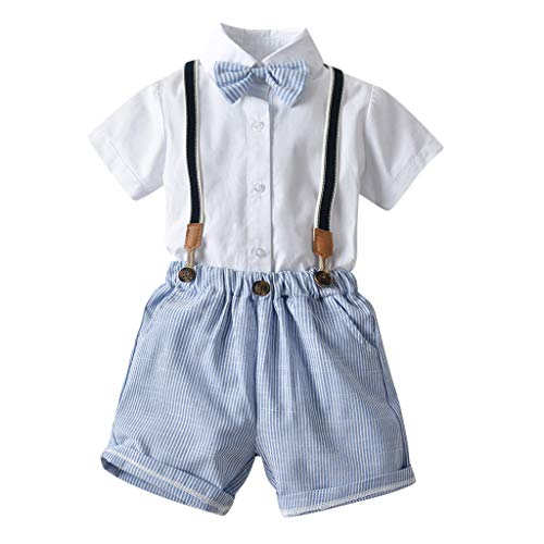 - Trule Toddler Handsome Well-Favored Baby Boy Gentleman Suits Short Sleeve Shirt Suspender Shorts Outfit Sets