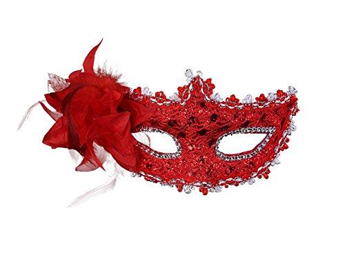 Meelino Venetian Floral Feather Rhinestone Princess Mask Masquerade Party