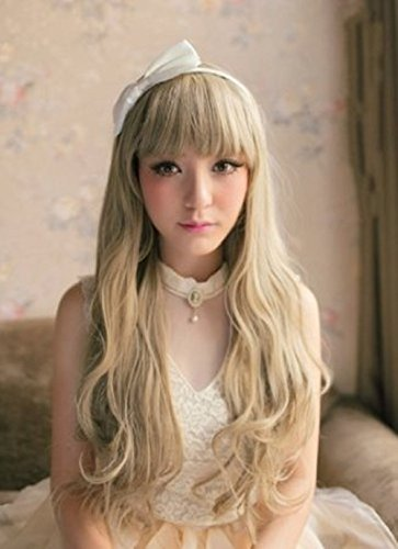 Besgo Stylish Long New Fashionable Cute Long Full Healthy Wavy Kanekalon Wig with Wig Cap (Blonde 4)