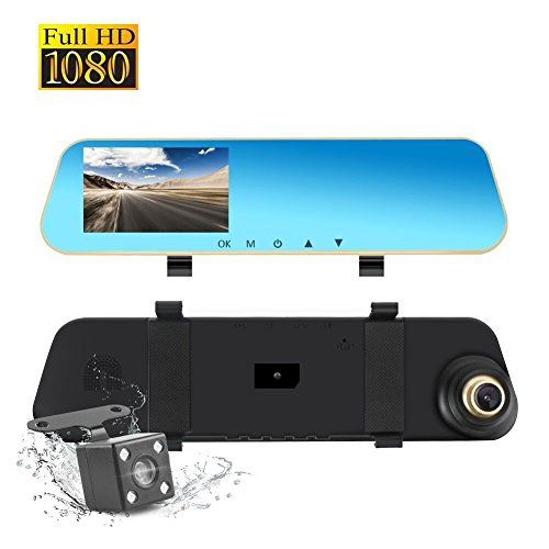 Dash Cam Dual Lens Front and Rear Cam, Rear View Mirror Car Backup Camera, 1080P FHD Front and Back Video Recorder Car DVR with G-Sensor, Motion Detection and Parking Mode, (Rear Backup Lenses)