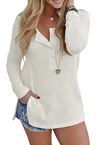 OVYNSZ Womens Casual Long Sleeve Button Down Henley Blouse Pullover Knit Loose Leisure Stylish Knit Sweaters Tops