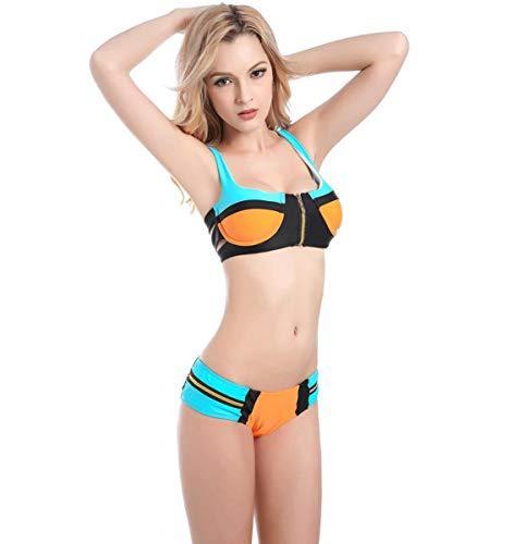 Da costumi Split colore Donna Dimensione Bagno zipper A M Costume Zhrui 6wqaI5a