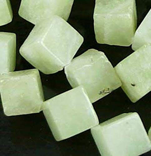 (12mm Natural Serpentine New Jade Cube/Diamond Beads 16'' )