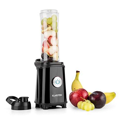 Klarstein Tuttifrutti Mini-Mixer zwei 800 ml Mixbehälter mit Trinkdeckel für Mix & Go Mini-Standmixer Drinks Shakes Smoothie-Maker (350 W mit Edelstahl-Kreuzklingen, BPA-frei Trinkflaschen) schwarz