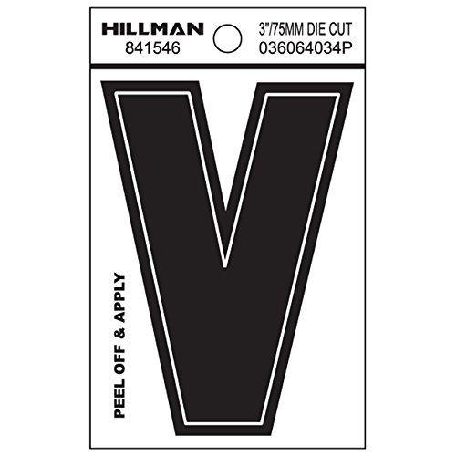 Hillman 3-Inch Die-Cut Black Gloss Finish, Wide Style, Vinyl Peel-Off Letter V