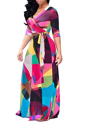 Locryz Women's Floral Print Self-tie Surplice Swing Maxi Bohemian Dress (R, XL)