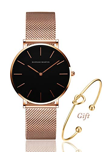 Women's Rose Gold Watch Analog Quartz Stainless Steel Mesh Band Casual Fashion Ladies Wrist Watches with Love Knot Bracelet Gift (Black - Wristwatches Ladies