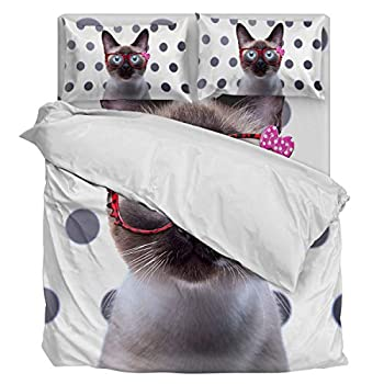 Image of 4 Piece Bedding Sets Duvet Cover Twin, Ultra Silky Soft Bedding Collection- Spotted Background Black Cat Wearing Glasses with Zipper Closure and Corner Ties Home and Kitchen