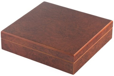 Orleans Group C-15/B 20 Count Burl Humidor W/Humidifier And Brass Hinges 9In X 8