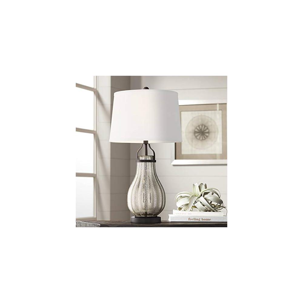 Arian Modern Farmhouse Contemporary Table Lamp Oil Rubbed Bronze Silver Mercury Glass White Drum Shade Decor for Living…