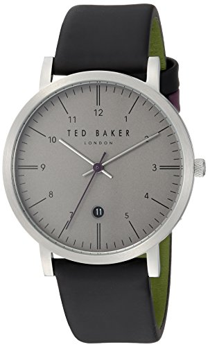 Ted Baker Round Dial (Ted Baker Men's 'SAMUEL' Quartz Stainless Steel and Leather Casual Watch, Color:Black (Model: TE15088001))