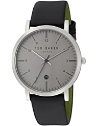 Ted Baker Mens SAMUEL Quartz Stainless Steel and Leather Casual Watch, Color Black (Model: TE15088001)