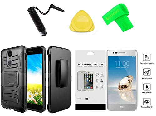 (for LG Rebel 4 LML212VL / LML211BL Holster Clip + Hybrid Cover Phone Case + Tempered Glass + Extreme Band + Stylus Pen + Pry Tool (Black))
