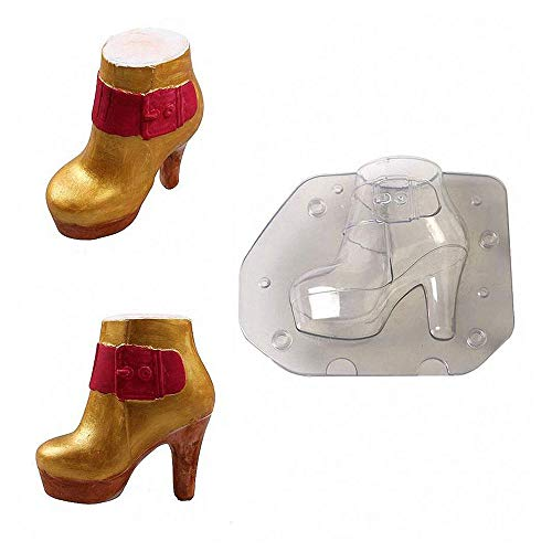 (MoldFun 3D High Heel Women Boots Chocolate Mold Lady Leather Stiletto Shoes Plastic Polycarbonate Mould for Fondant, Candy, Cake)